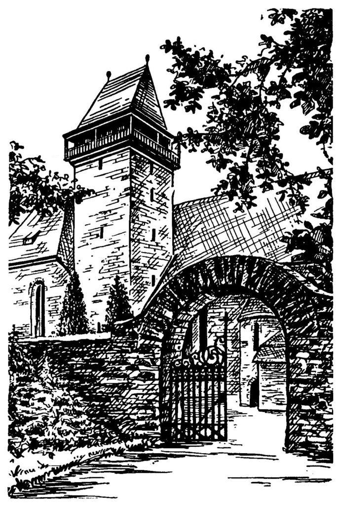 Tor zum Friedhof an der Kirche (Zeichnung Kirchenblatt)